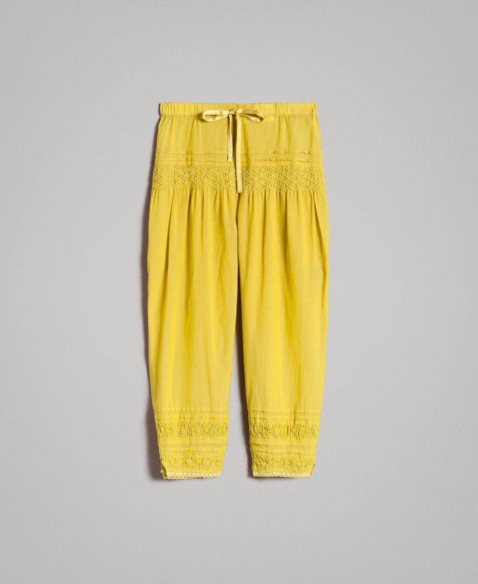 """Pantalon en voile de coton avec broderie Jaune """"Bambou"""" Enfant 191GJ2351-01"""