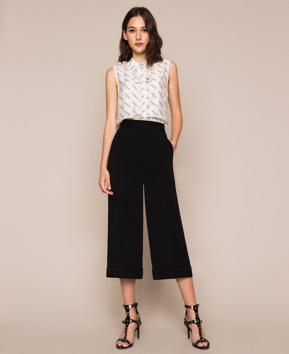 Pantalon ample en crêpe georgette Noir Femme 201TP202C-01