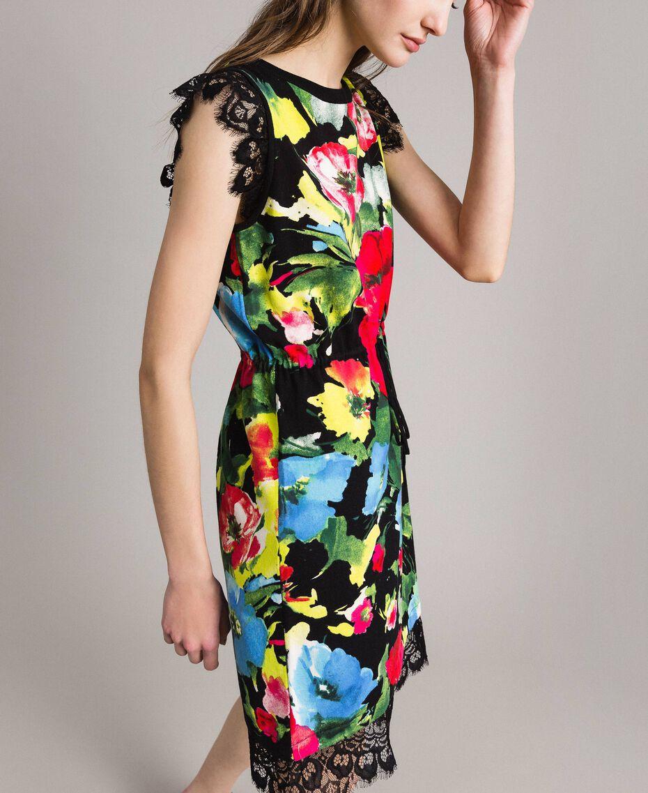Patterned knit dress Macro Flower Black Print Woman 191TT3180-02