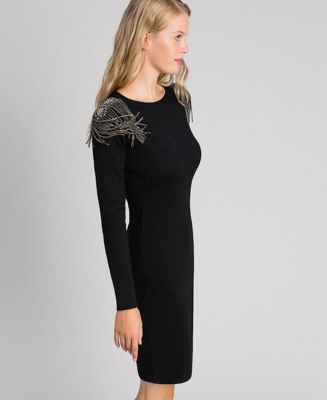 Sheath dress with rhinestone chains Black Woman 192TT3076-01