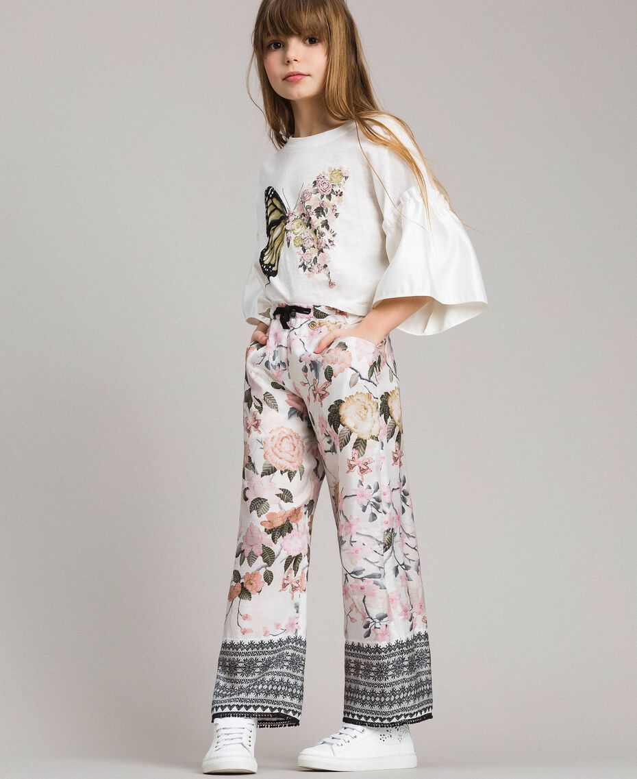Floral viscose trousers with lace print Ramage Butterfly Print Child 191GJ2522-0S