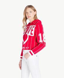 Pull court Bicolore Rouge Cerise / Blanc Optique Femme JS83HP-02