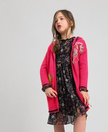 "Wool blend maxi cardigan with rose inlay ""Candy"" Fuchsia/ Black Child 192GJ3021-0T"