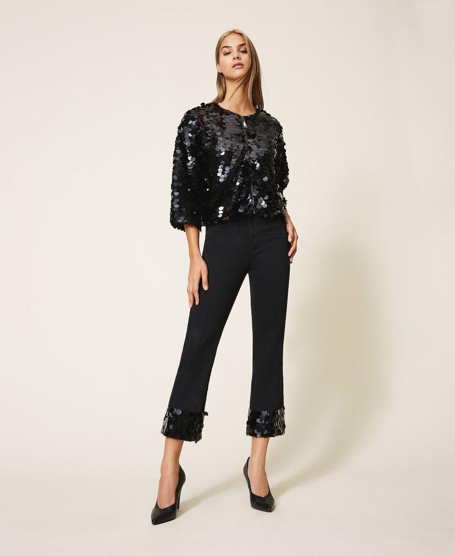 Расклешенные джинсы с пайетками Черный женщина 202MT2124-01
