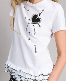 T-shirt avec imprimé et volants Crème White Femme 191MP206D-01