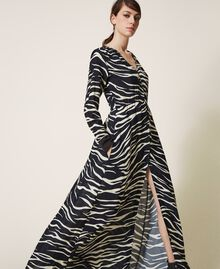 Animal print crêpe de Chine dress Black / Cream White Zebra Print Woman 202MP2430-02