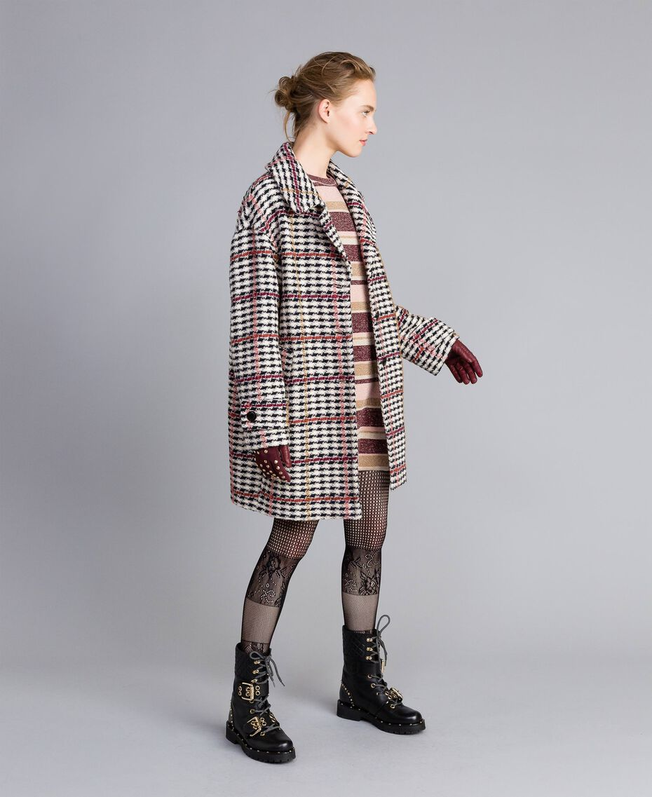 Oversized houndstooth coat Large Multicolour Check Jacquard Woman PA826H-0T
