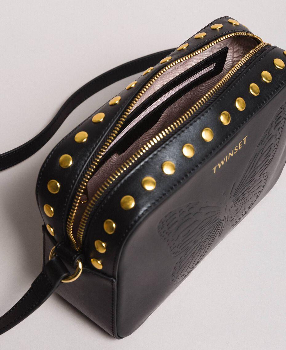 Umhängetasche aus Leder mit Nieten Schwarz Frau 191TO8262-05