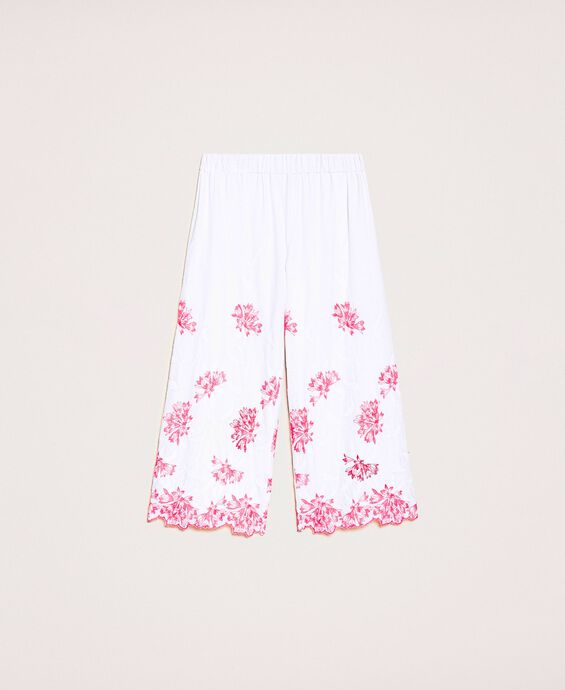 Cropped scalloped trousers with embroidery