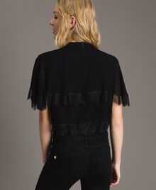 Georgette and lace shrug Black Woman 191TP2373-04