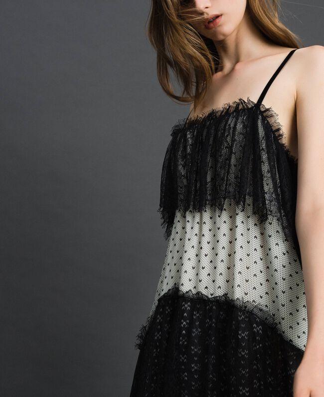 Robe longue en crêpe georgette imprimé avec dentelle Imprimé Mélange «Air de Neige» Noir et Vanille Femme 192MT2393-04