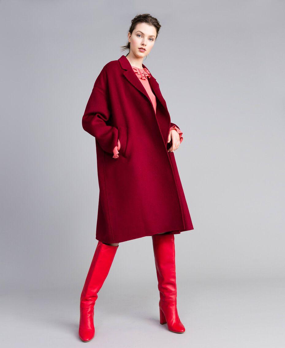 Cappotto lungo in panno double Bordeaux Donna PA8262-0T