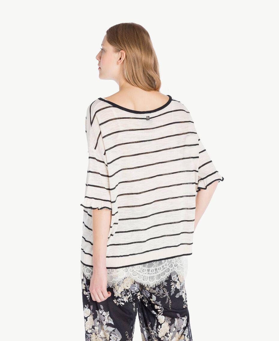 Maxi pull rayures Bicolore Blanc Parchemin / Noir Femme YS83BD-03