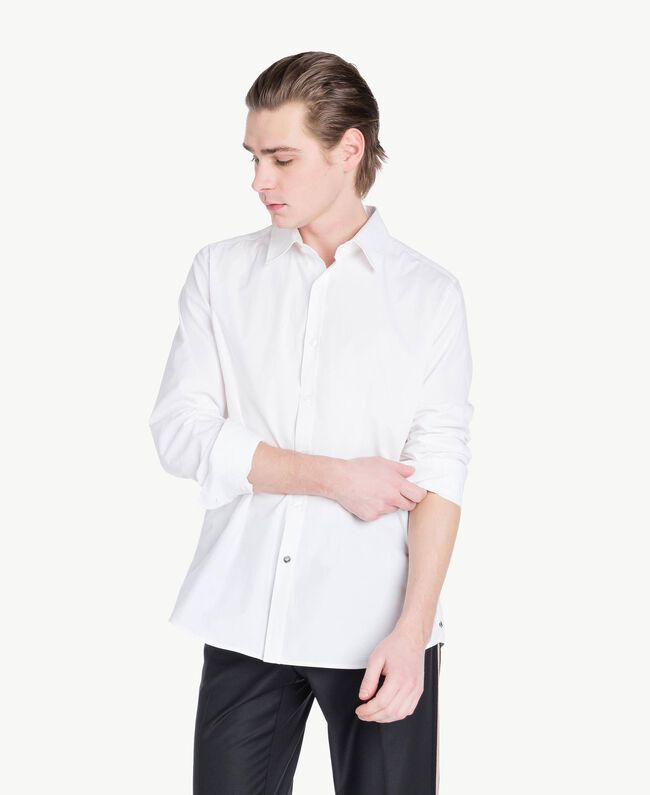 Poplin shirt Matte White Man US821B-01
