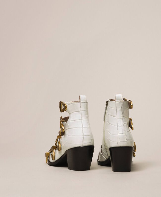 """Кожаные ковбойские сапожки с крокодиловым принтом Принт Крокодил Белый """"Снег"""" женщина 201TCP05A-04"""