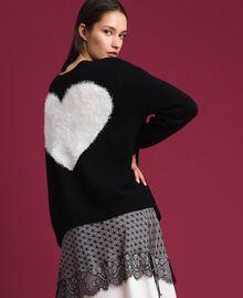Cardigan-Pullover mit Herz Zweifarbig Schwarz / Schneeweiß Frau 192TP3320-06