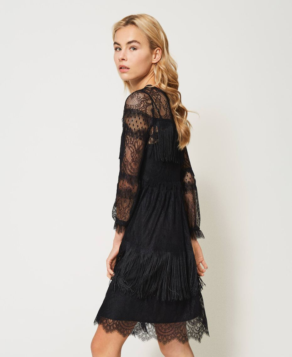 Tulle dress with lace and fringes Black Woman 202TP2374-03