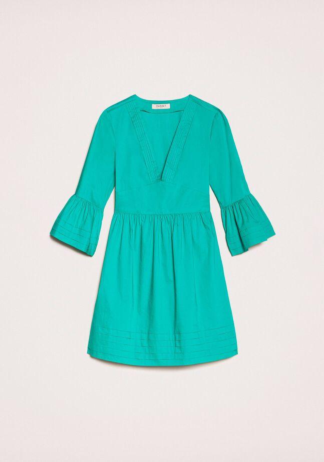 Poplin dress with pleats