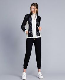 Two-tone quilted nylon padded jacket Bicolour Black / Blanc Woman IA85JJ-0T