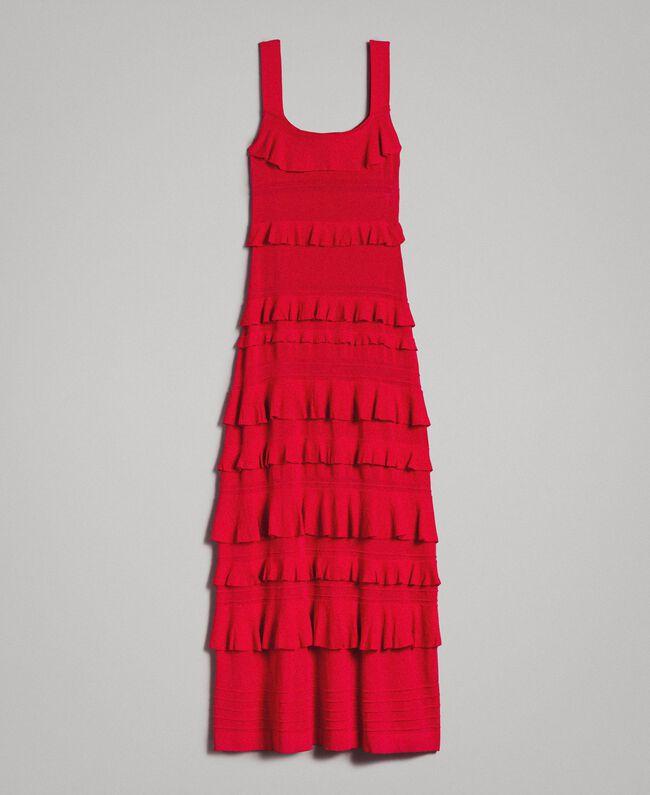 new product a67d0 395cf Langes Volantkleid aus Krepp Frau, Rot | TWINSET Milano