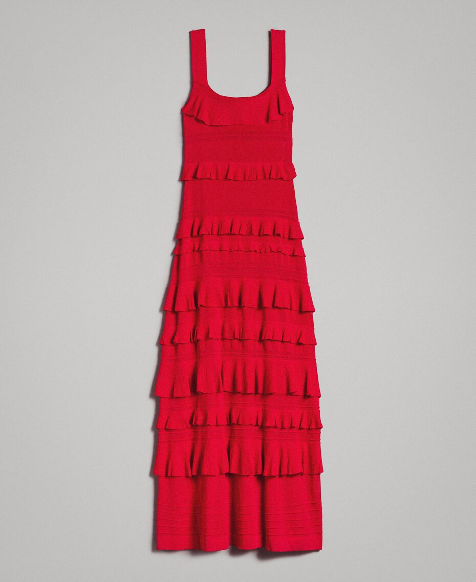 "Long crêpe dress with flounces ""Lipstick Red"" Woman 191TT3022-0S"