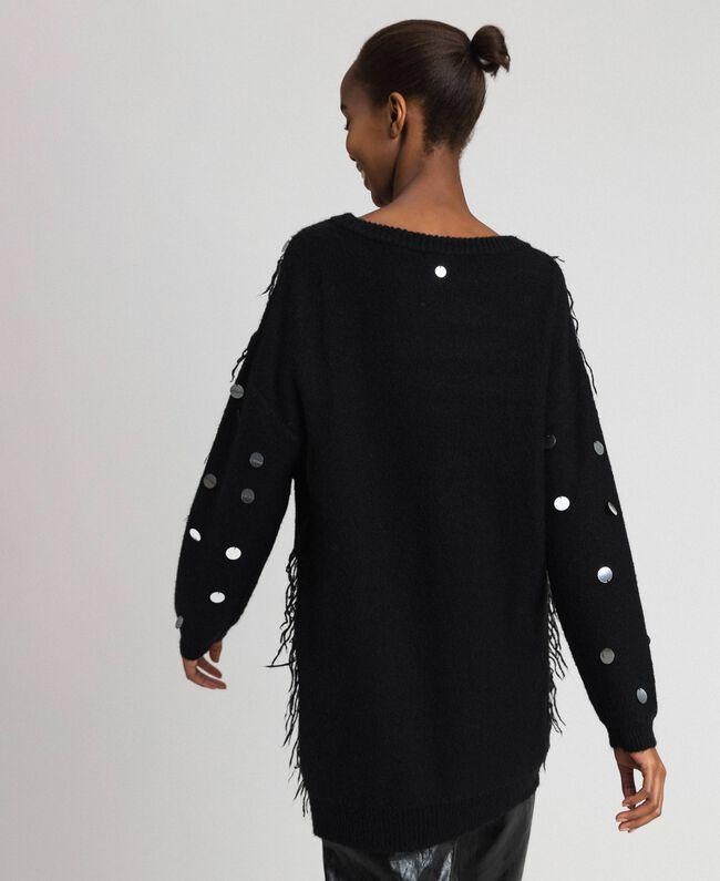 Maxi pull en laine et mohair avec sequins Noir Femme 192ST3020-03