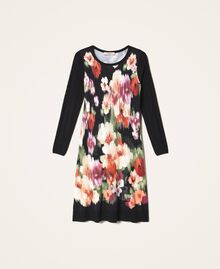 Robe en maille florale Fleur Chiné Noir Femme 202TT3342-0S