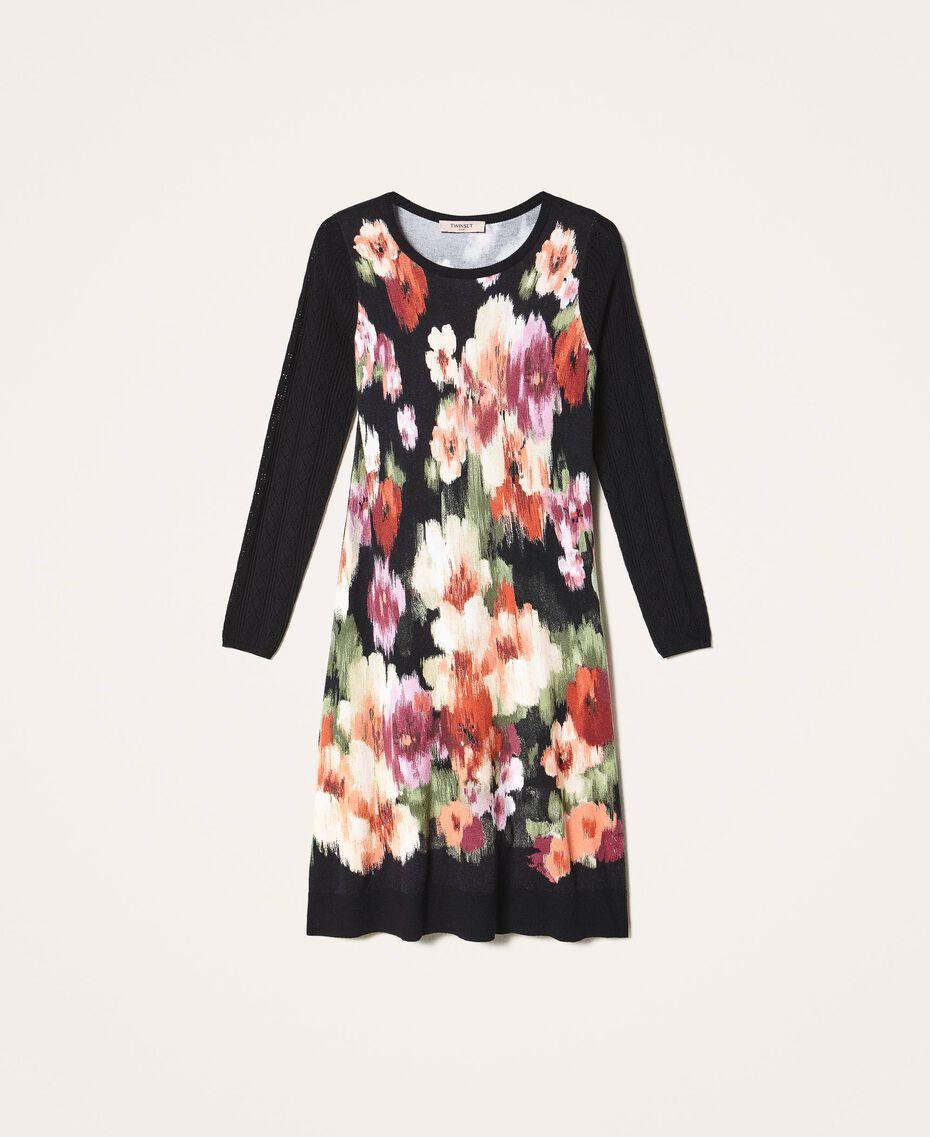 Трикотажное платье с цветочным принтом Цветок Шине Черный женщина 202TT3342-0S