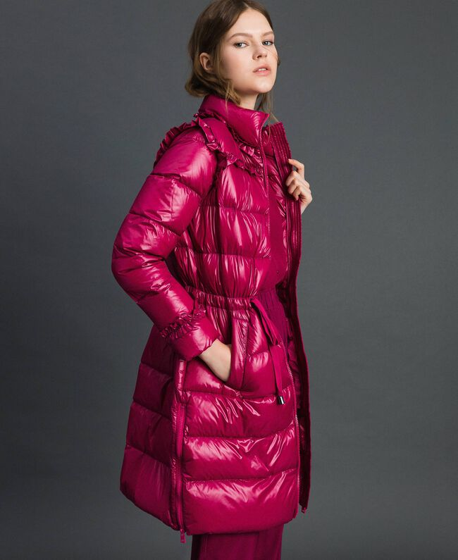 Long quilted padded jacket with real down Beet Red Woman 192TP2201-01