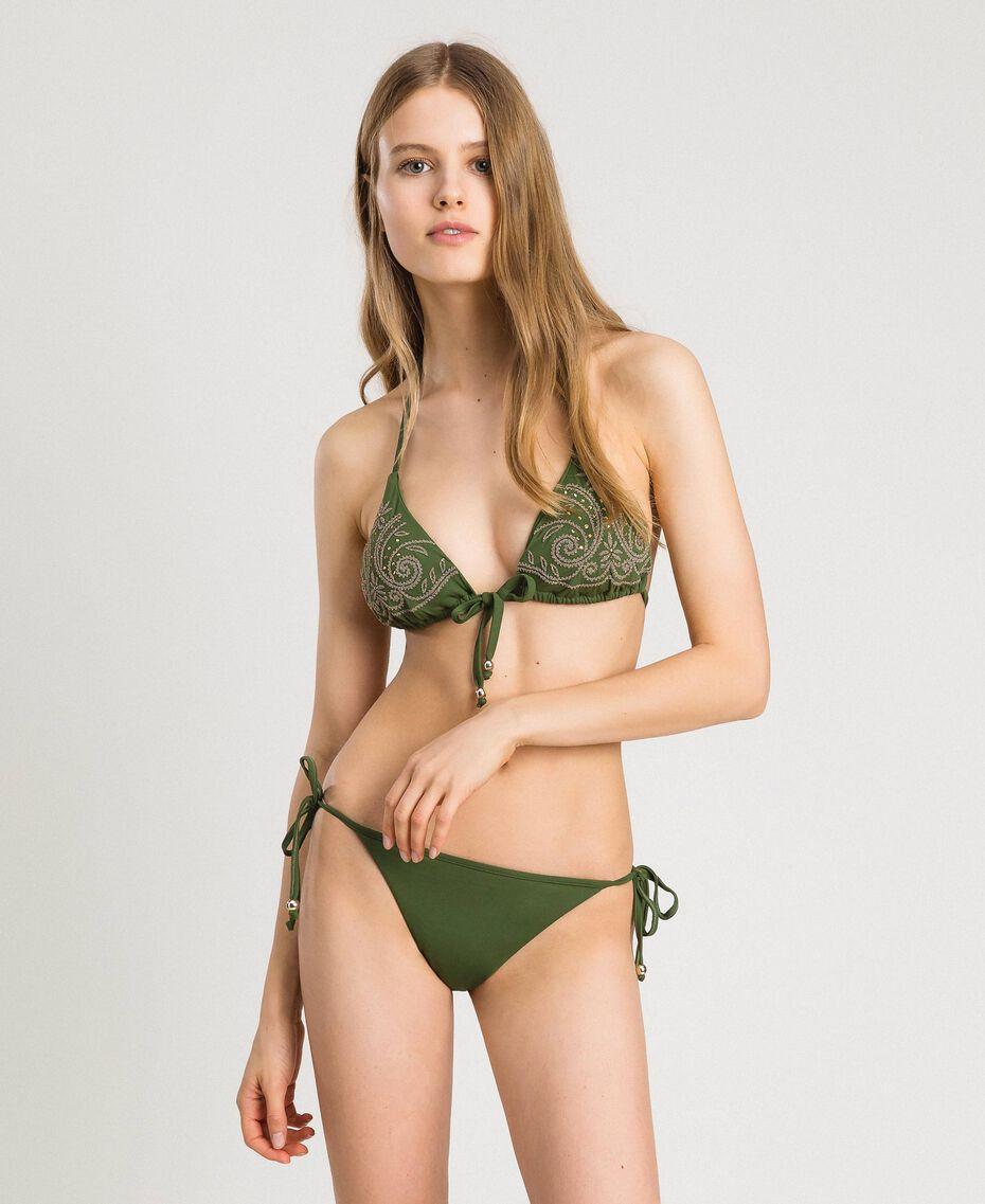 Triangle bikini top with embroideries and rhinestones Amazon Green Woman 191LMMR22-0S