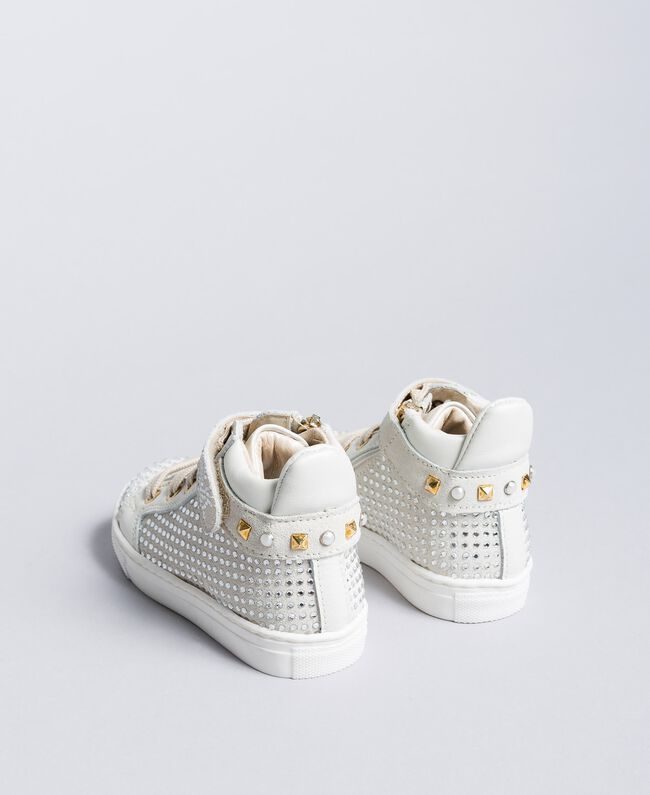 Leather and rhinestone sneakers Off White Child HA88DA-03