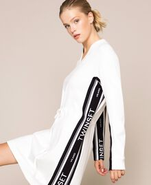 Dress with jacquard logo bands Ivory Woman 201TP2073-04