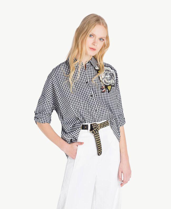 Hemd mit Vichykaros Zweifarbiges Vichy Optisches Weiß / Schwarz Frau JS82EP-01