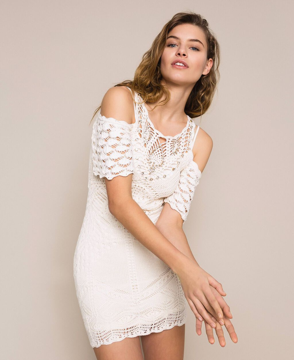 Embroidered crochet sheath dress with fringes