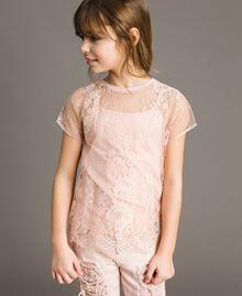 Jerseystoff-Top und Spitzenbluse Blütenrosa Kind 191GJ2741-02