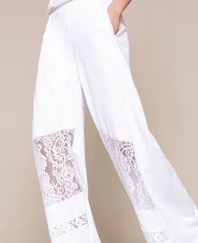Pantaloni a palazzo in felpa con pizzo Bianco Donna 201LL2LLL-04