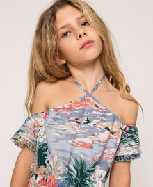 "Linen blend printed dress ""Hawaii"" Blue Print Child 201GJ2342-05"