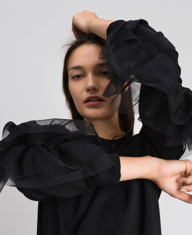 Robe en molleton avec volant en tulle Noir Femme 192LI2TCC-04
