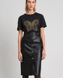 Jupe mi-longue en similicuir Noir Femme 192TT203B-01