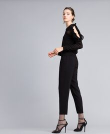 Georgette jogging trousers Black Woman PA82HK-02