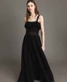 Long dress with broderie anglaise embroidery Black Woman 191TT2043-02