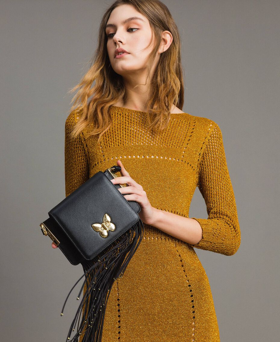Leather Bea shoulder bag with fringes Black Woman 191TO8231-0S