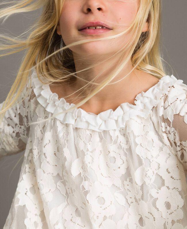 Robe en dentelle avec ruchés Bicolore Chantilly / Blanc Optique Enfant 191GJ2QH0-04