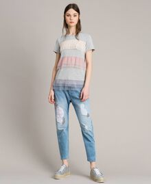 Jean girlfriend brodé et déchiré Bleu Denim Femme 191MP2480-01