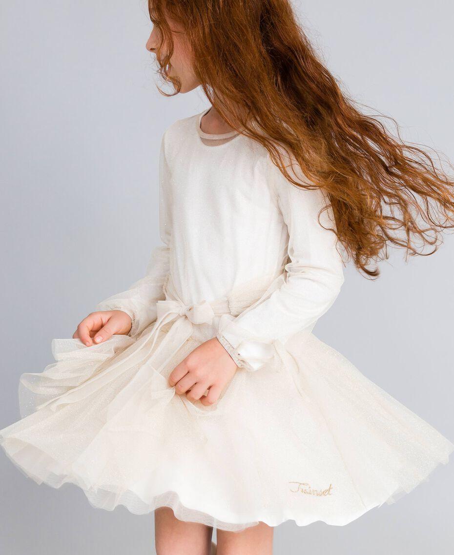 Kleid aus Lurextüll Zweifarbig Weiß / Goldlurex Kind GA82L1-0S