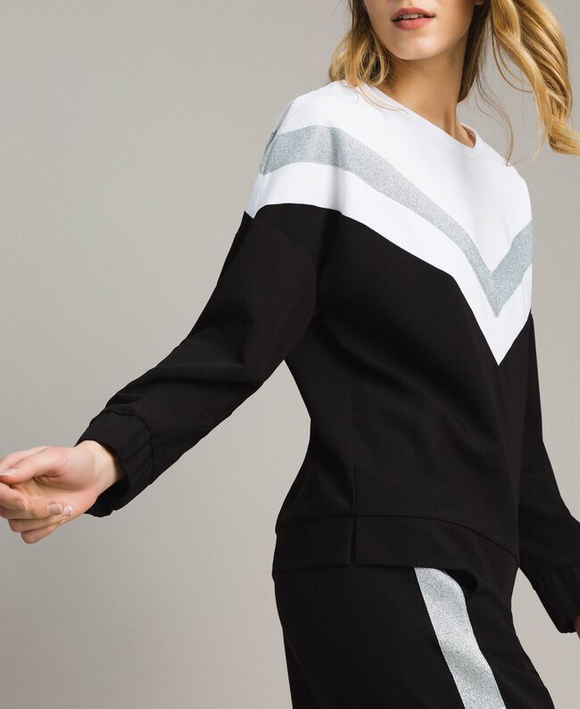 Gabardine sweatshirt with lurex insert Two-tone Black / Optical White Woman 191LL25EE-03