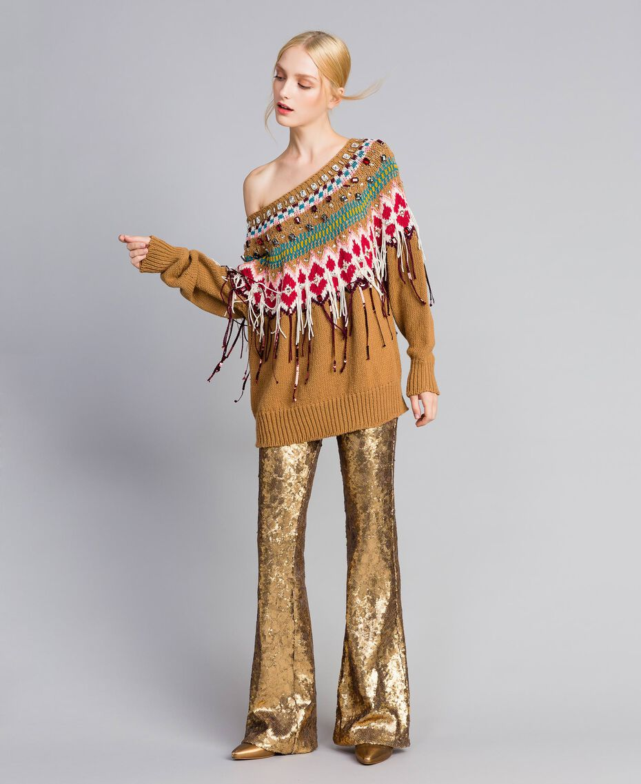 Sequined trousers Gold Yellow Woman QA8TEF-02