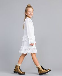 Robe volantée en crêpe georgette Off White Enfant GA82HA-03