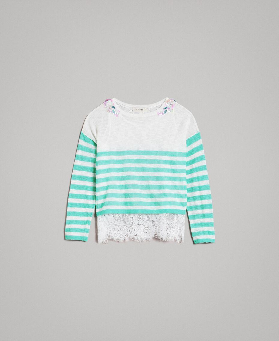 """Striped jumper and lace top """"Island Paradise"""" Light Blue / Off White Striping Child 191GJ3080-01"""
