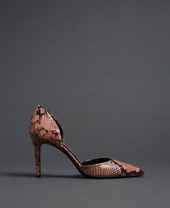 comprar online 78ad2 8a3bc Zapatos de salón de piel con animal print Mujer, Rosa ...